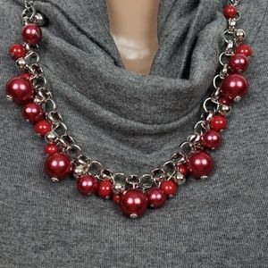 1323 New Necklace w/Earrings Red Baubles Silver